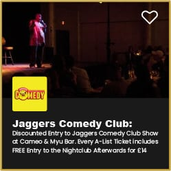 Jaggers Comedy Club Bournemouth Discount on Entry