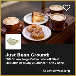 Just Bean Ground Bournemouth 50% Off Large Coffee and £10 Meal Deal for 2