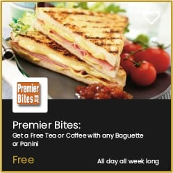 Premier Bites Bournemouth Free Hot Drink with any Baguette or Panini