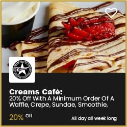 Creams Cafe Bournemouth 20% off