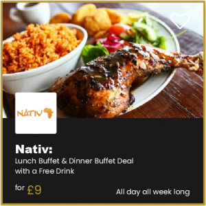 Nativ Bournemotu Lunch Buffet & Dinner Buffet Deal with a Free Drink