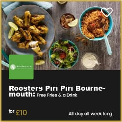 Roosters Piri Piri Bournemouth Free Drink and Fries when you spend £10