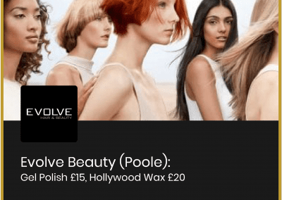 Evolve Beauty (Poole) Gel Polish: £15, Hollywood Wax: £20 (see more…)