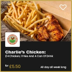 Charlie's Chicken Bournemouth Chicken Fries and Drink for £5.50